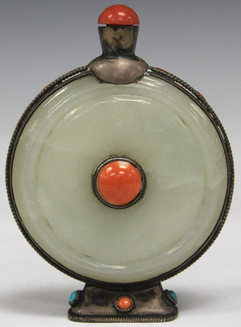 CHINESE CARVED JADE SNUFF BOTTLE W/ CORAL