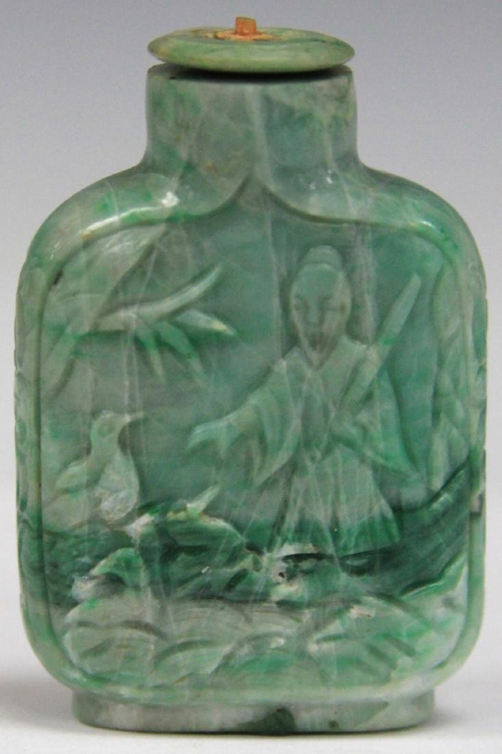 "CHINESE CARVED JADE SNUFF BOTTLE, 2 1/4"" H"