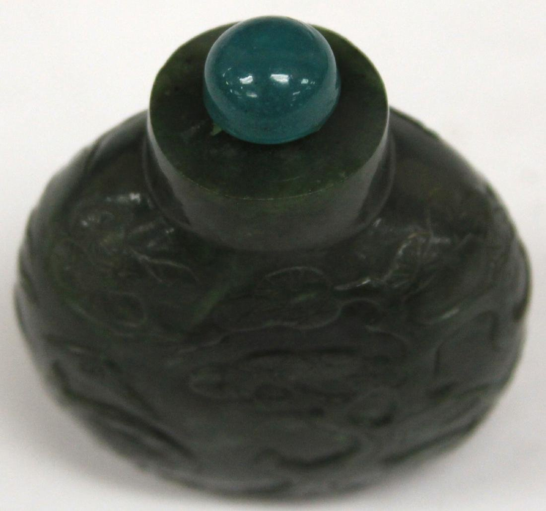 "CHINESE CARVED JADE SNUFF BOTTLE, 2 1/2"" H - 6"
