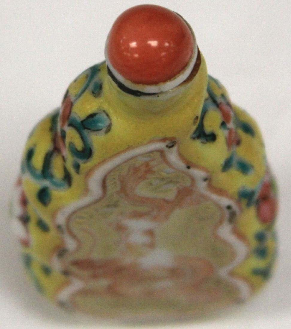 CHINESE DRAGON PAINTED PORCELAIN SNUFF BOTTLE - 4