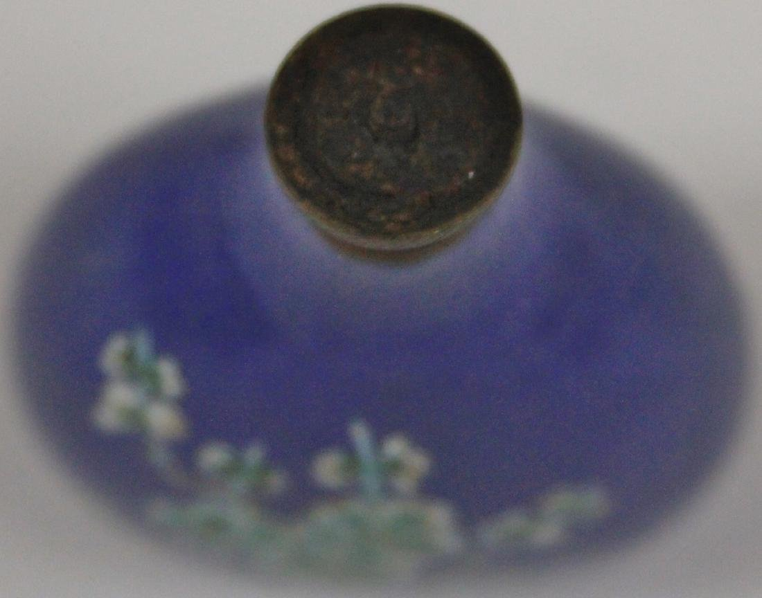 CHINESE BLUE PAINTED PORCELAIN SNUFF BOTTLE - 4