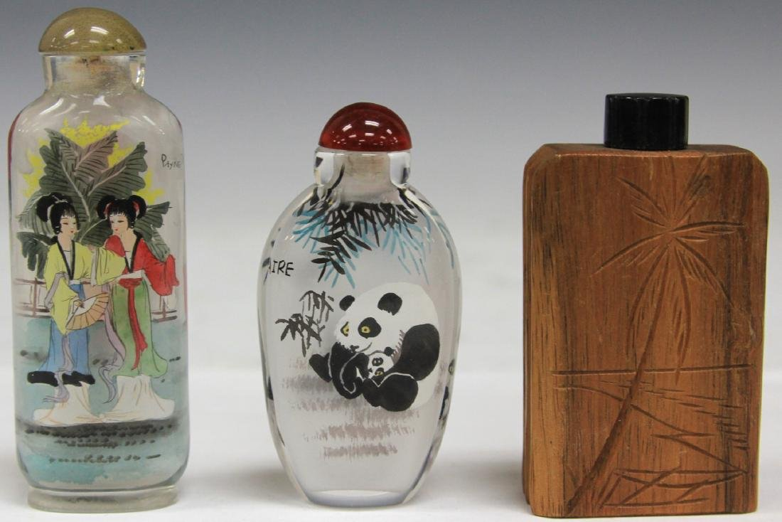LOT OF (3) CHINESE SNUFF BOTTLES: BAMBOO & GLASS