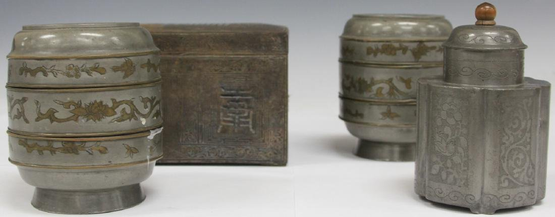 LOT OF (4) CHINESE PEWTER LIDDED BOXES/JAR