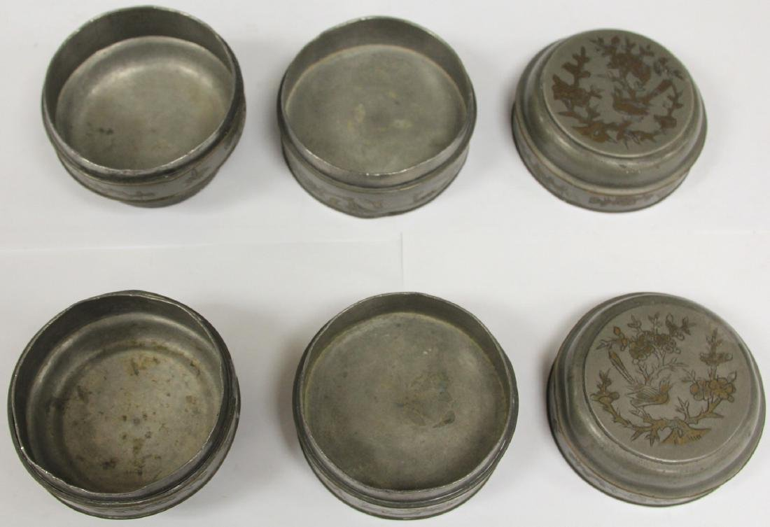 LOT OF (4) CHINESE PEWTER LIDDED BOXES/JAR - 2