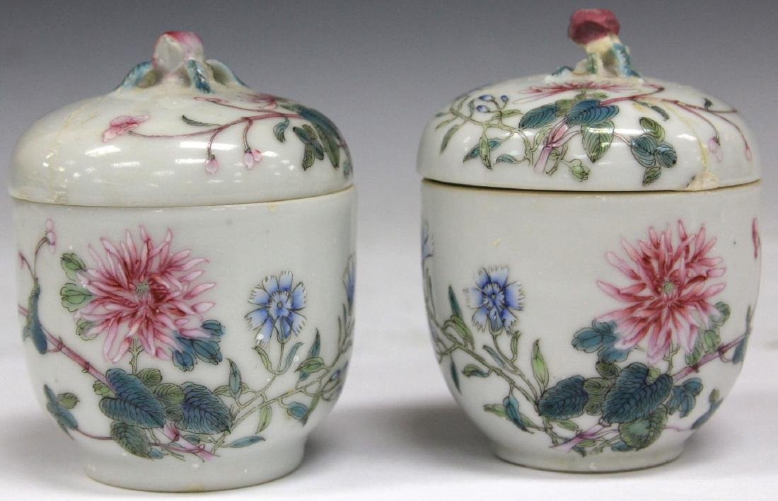 PAIR OF CHINESE PAINTED PORCELAIN LIDDED JARS