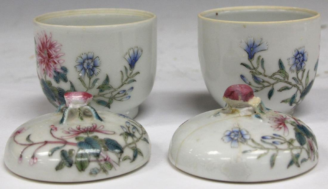 PAIR OF CHINESE PAINTED PORCELAIN LIDDED JARS - 2