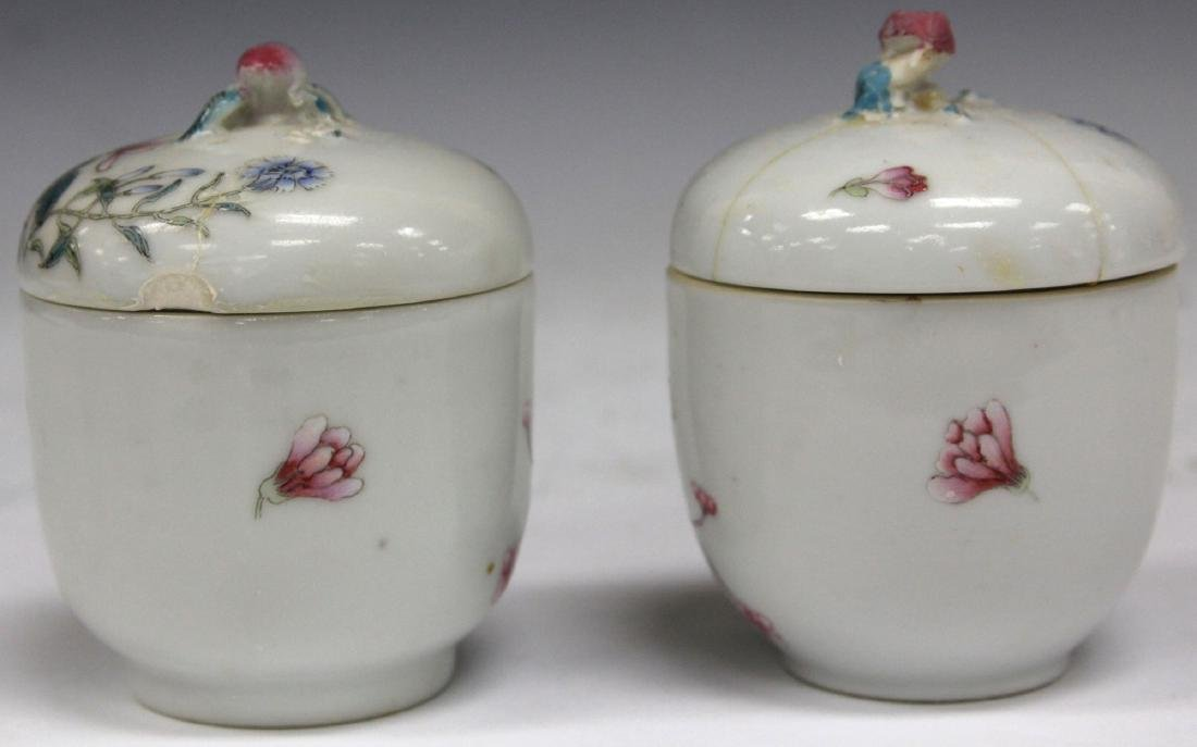 PAIR OF CHINESE PAINTED PORCELAIN LIDDED JARS - 3