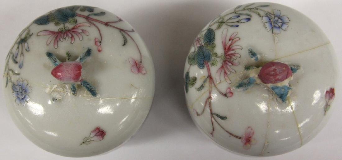 PAIR OF CHINESE PAINTED PORCELAIN LIDDED JARS - 4