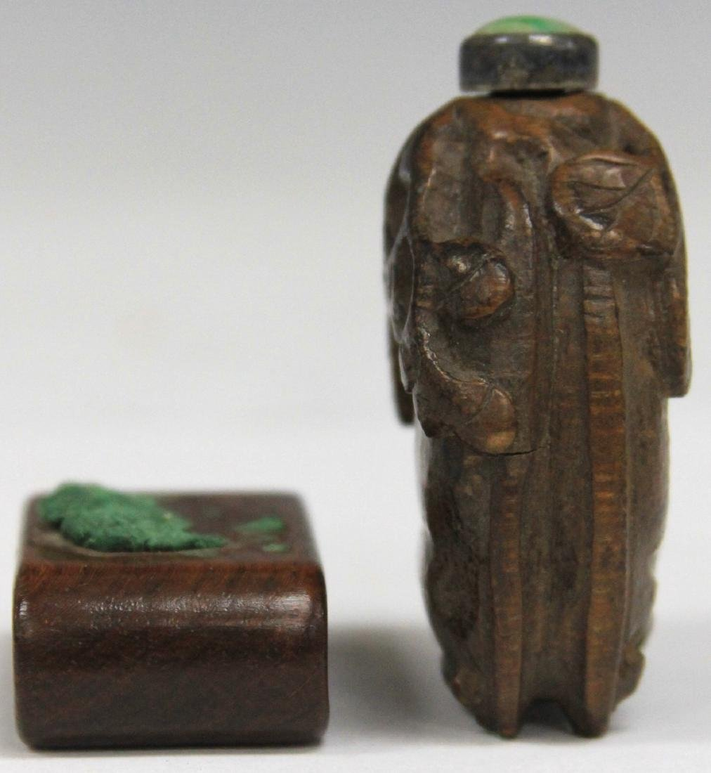 CHINESE CARVED WOOD SNUFF BOTTLE W/ JADE TOP - 3