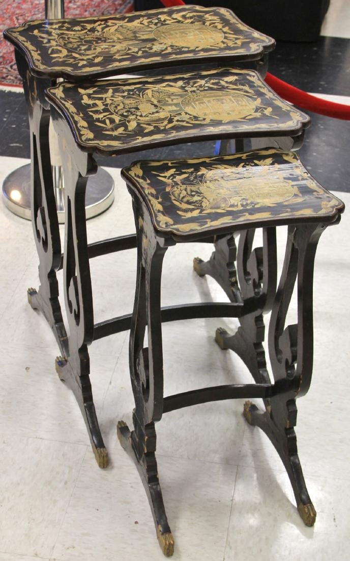 SET (3) CHINESE LACQUERED STACKING TABLES