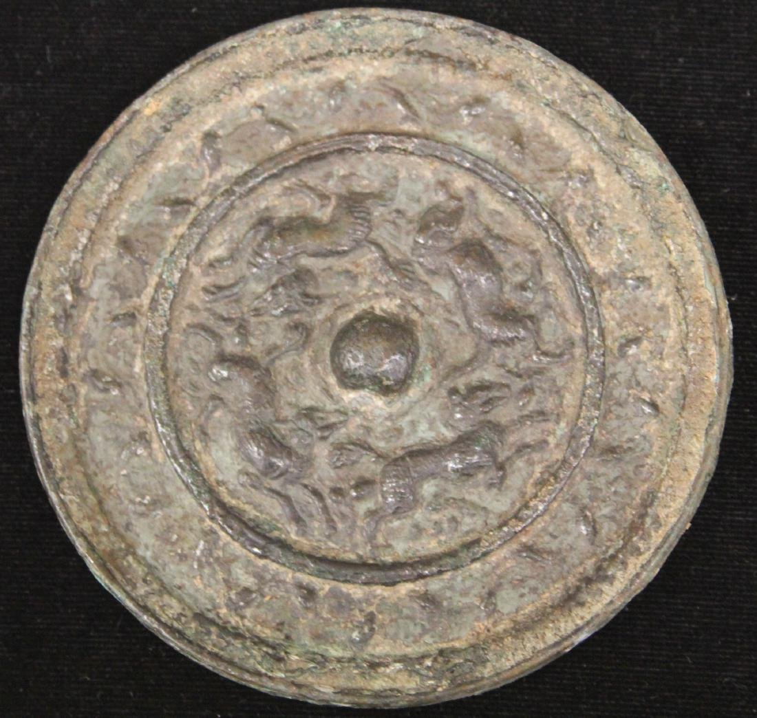 "EARLY CHINESE BRONZE MIRROR, 3 1/2"" D"