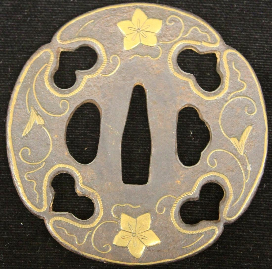 "EARLY JAPANESE MIXED METAL TSUBA , 3"" L"