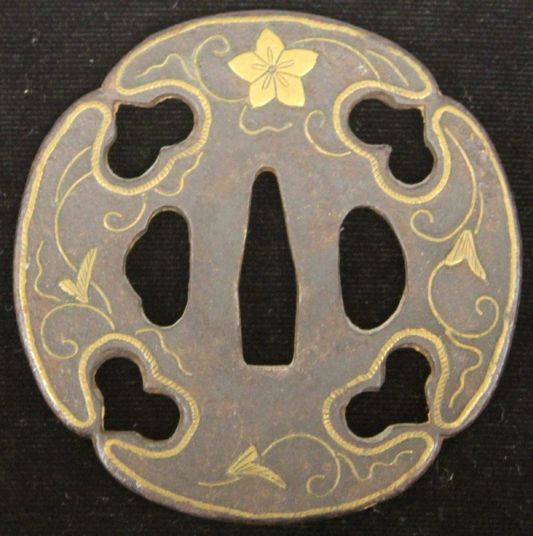 "EARLY JAPANESE MIXED METAL TSUBA , 3"" L - 2"