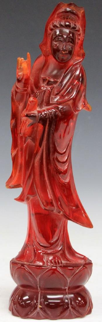 """VINTAGE CHINESE AMBER CARVED QUAN YIN, 12"""" H"""