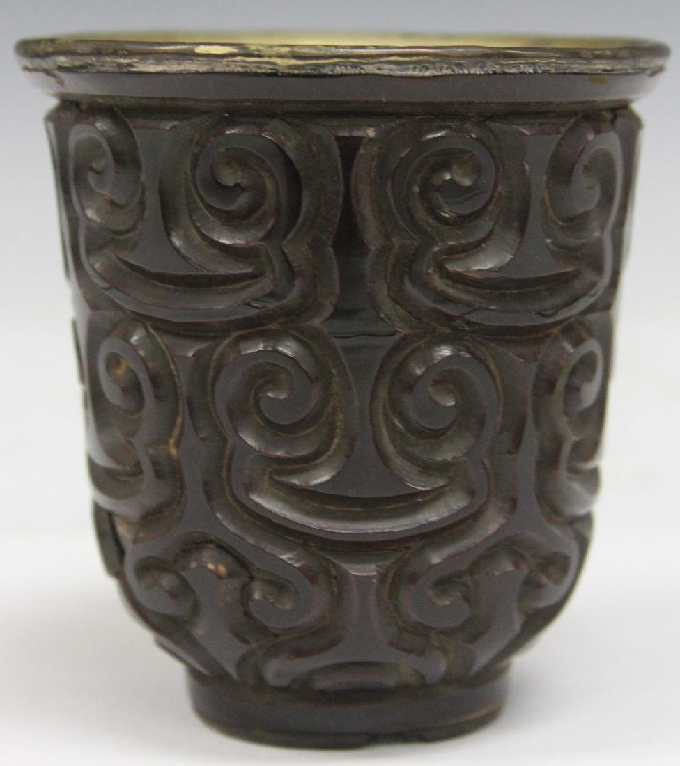 "EARLY CHINESE CINNABAR WINE CUP, 3 3/8"" H"