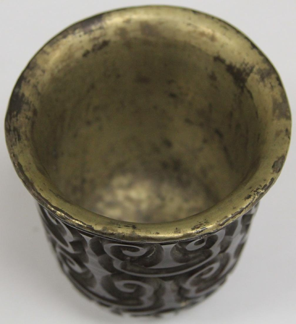 "EARLY CHINESE CINNABAR WINE CUP, 3 3/8"" H - 2"