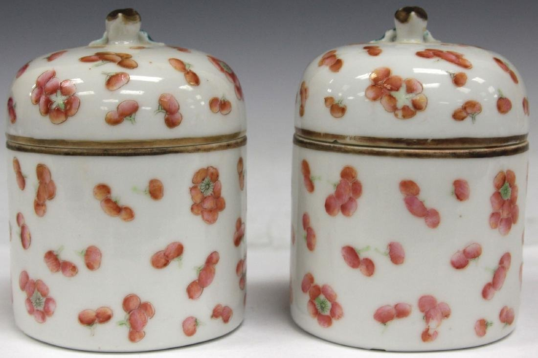 "PAIR OF LATE 19TH C. CHINESE PORCELAIN JARS, 4"" H"