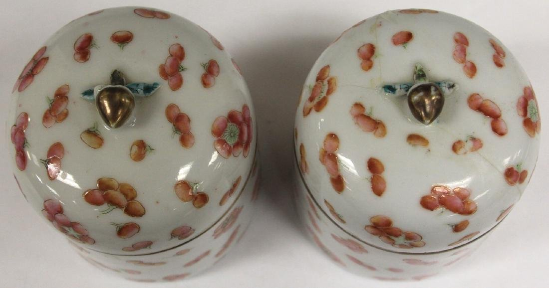"PAIR OF LATE 19TH C. CHINESE PORCELAIN JARS, 4"" H - 3"