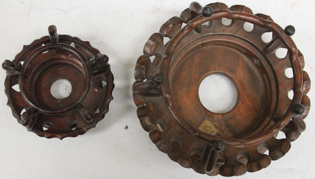 LOT OF (4) CHINESE CARVED WOOD STANDS - 5