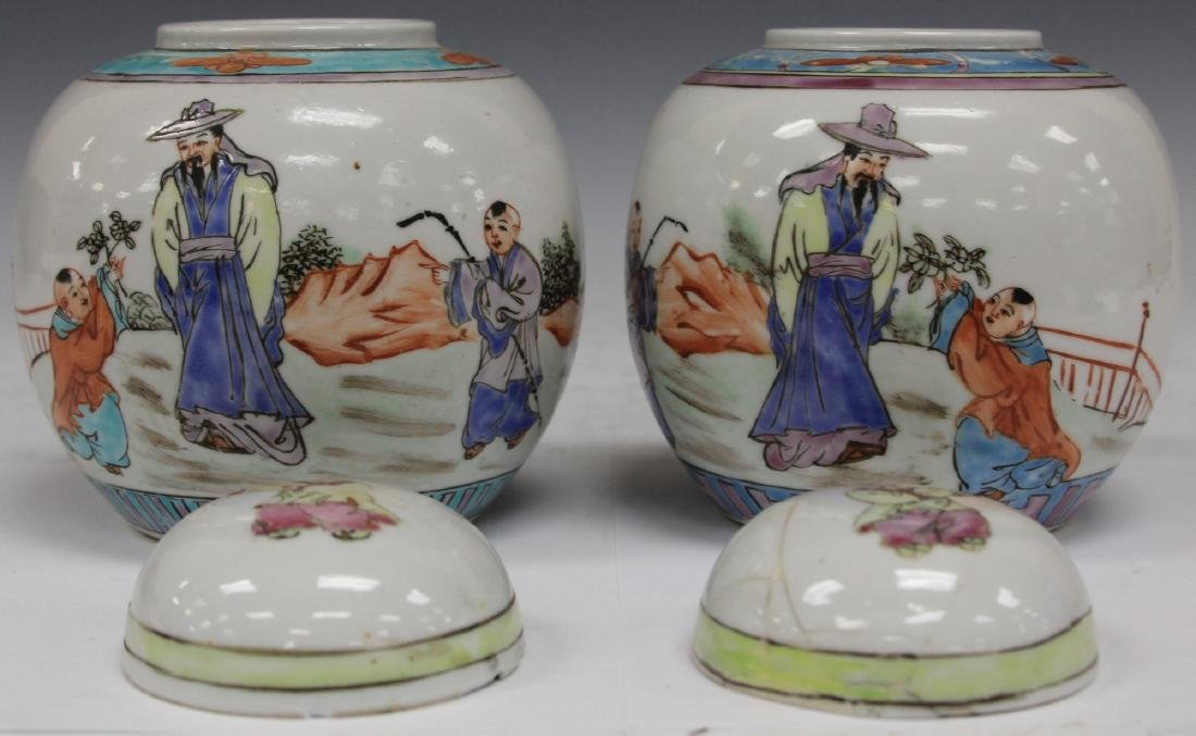"PAIR OF CHINESE PORCELAIN LIDDED JARS, 5 1/4"" H - 2"