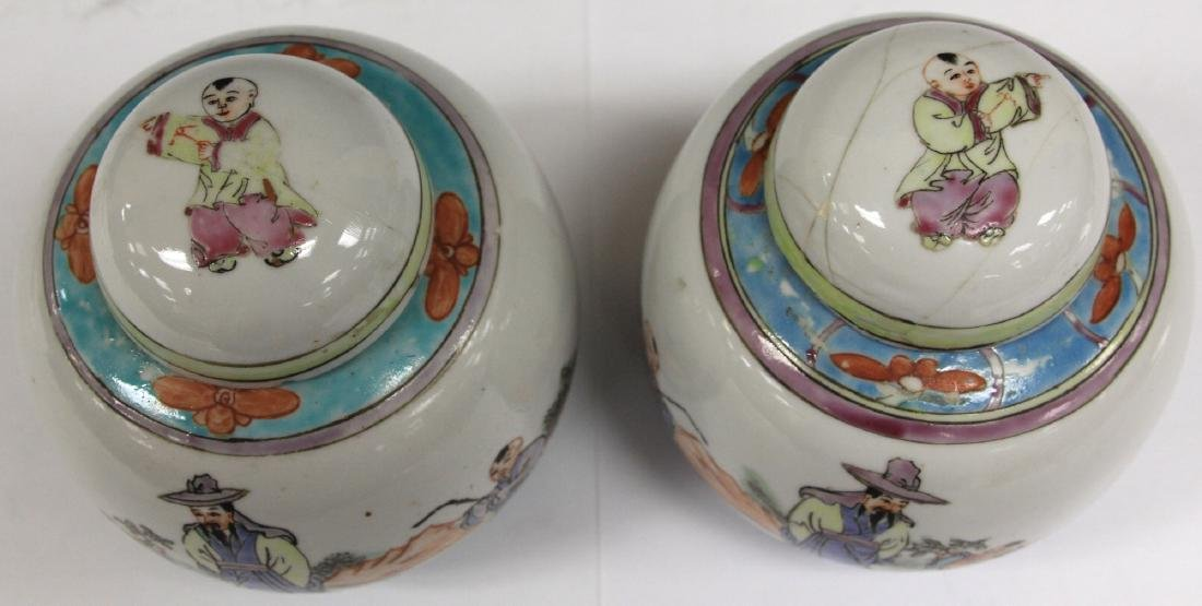 "PAIR OF CHINESE PORCELAIN LIDDED JARS, 5 1/4"" H - 3"