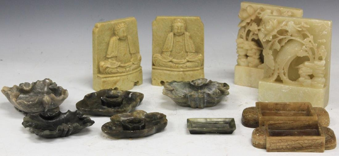 LOT OF (12) SOAPSTONE CARVINGS & TRAYS