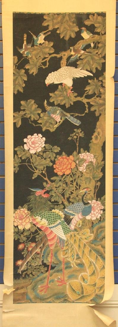 EARLY MING DYNASTY SCROLL PAINTING OF BIRDS