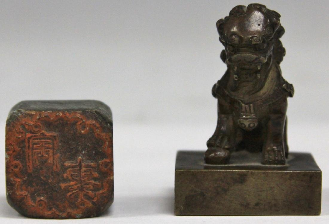 LOT OF (2) VINTAGE CHINESE BRONZE & STONE STAMPS