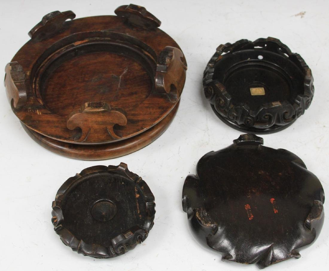 LOT OF (4) CHINESE CARVED WOOD STANDS - 3