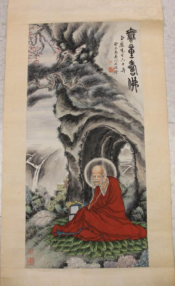 VINTAGE CHINESE WATERCOLOR SCROLL PAINTING, SIGNED
