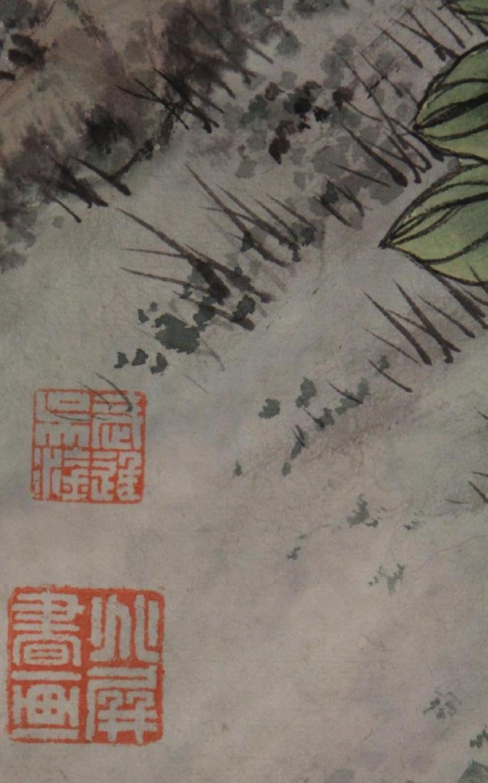 VINTAGE CHINESE WATERCOLOR SCROLL PAINTING, SIGNED - 5