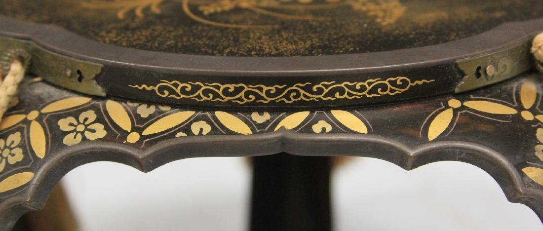 VINTAGE JAPANESE PAINTED LACQUERED STAND - 4