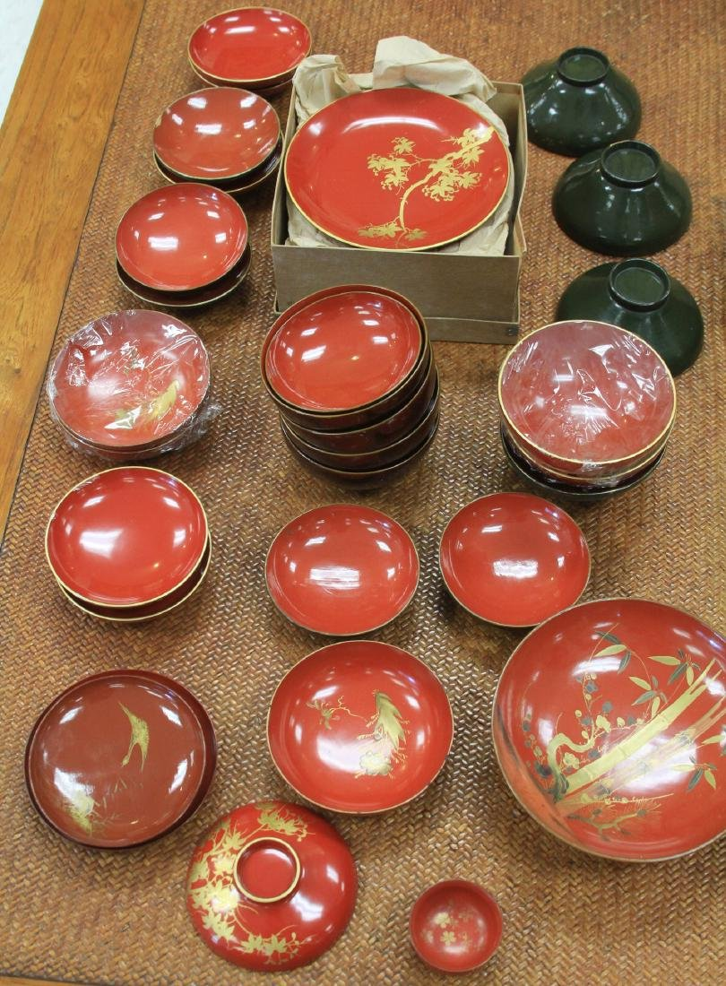 LOT OF (68) VINTAGE JAPANESE RED LACQUERED BOWLS - 2