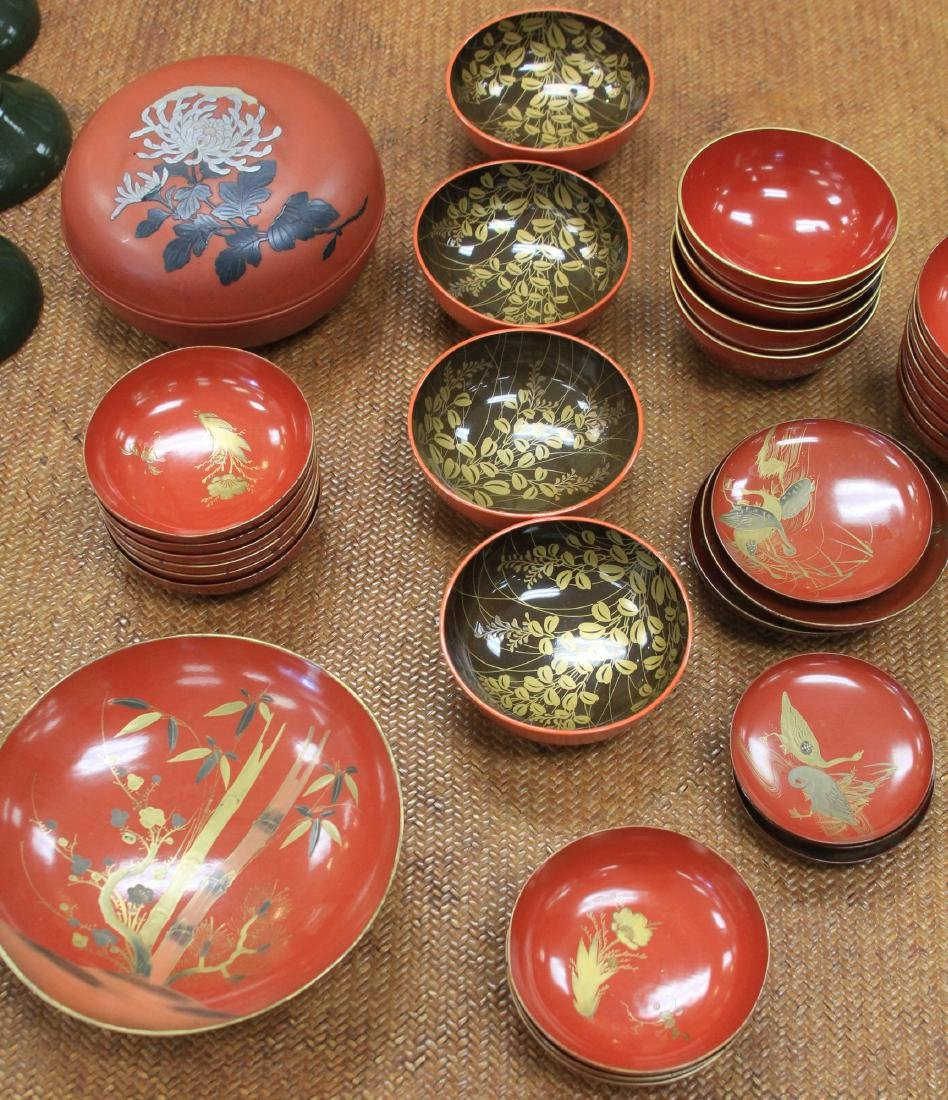 LOT OF (68) VINTAGE JAPANESE RED LACQUERED BOWLS - 3
