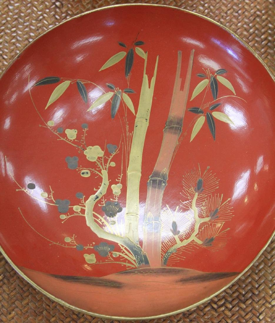 LOT OF (68) VINTAGE JAPANESE RED LACQUERED BOWLS - 4