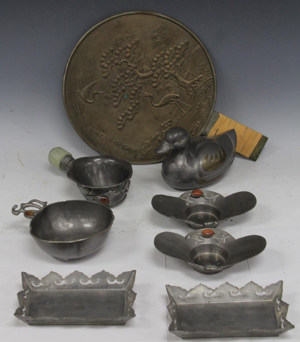 LOT  OF (8) CHINESE PEWTER, JAPANESE MIRROR