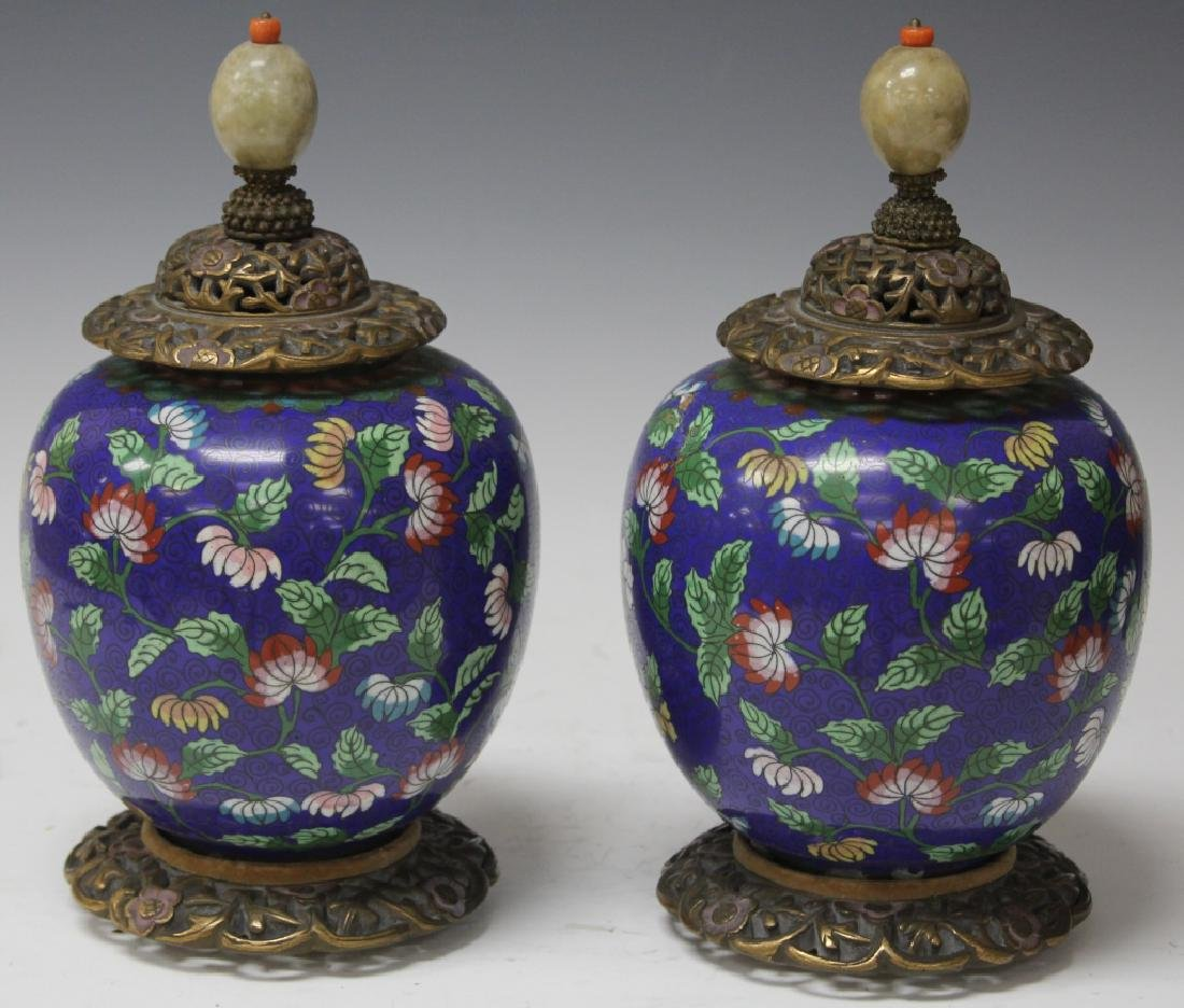 PAIR OF CHINESE CLOISONNE JARS WITH CARVED TOPS