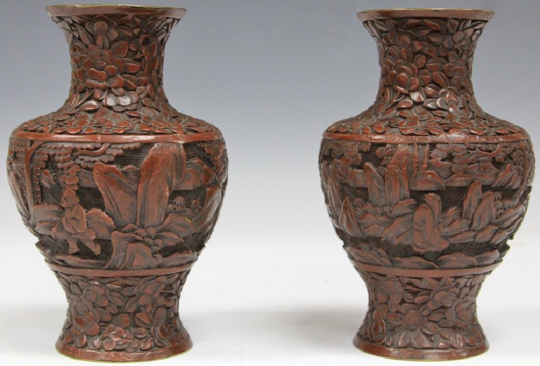 PAIR OF EARLY CHINESE CARVED CINNABAR VASES