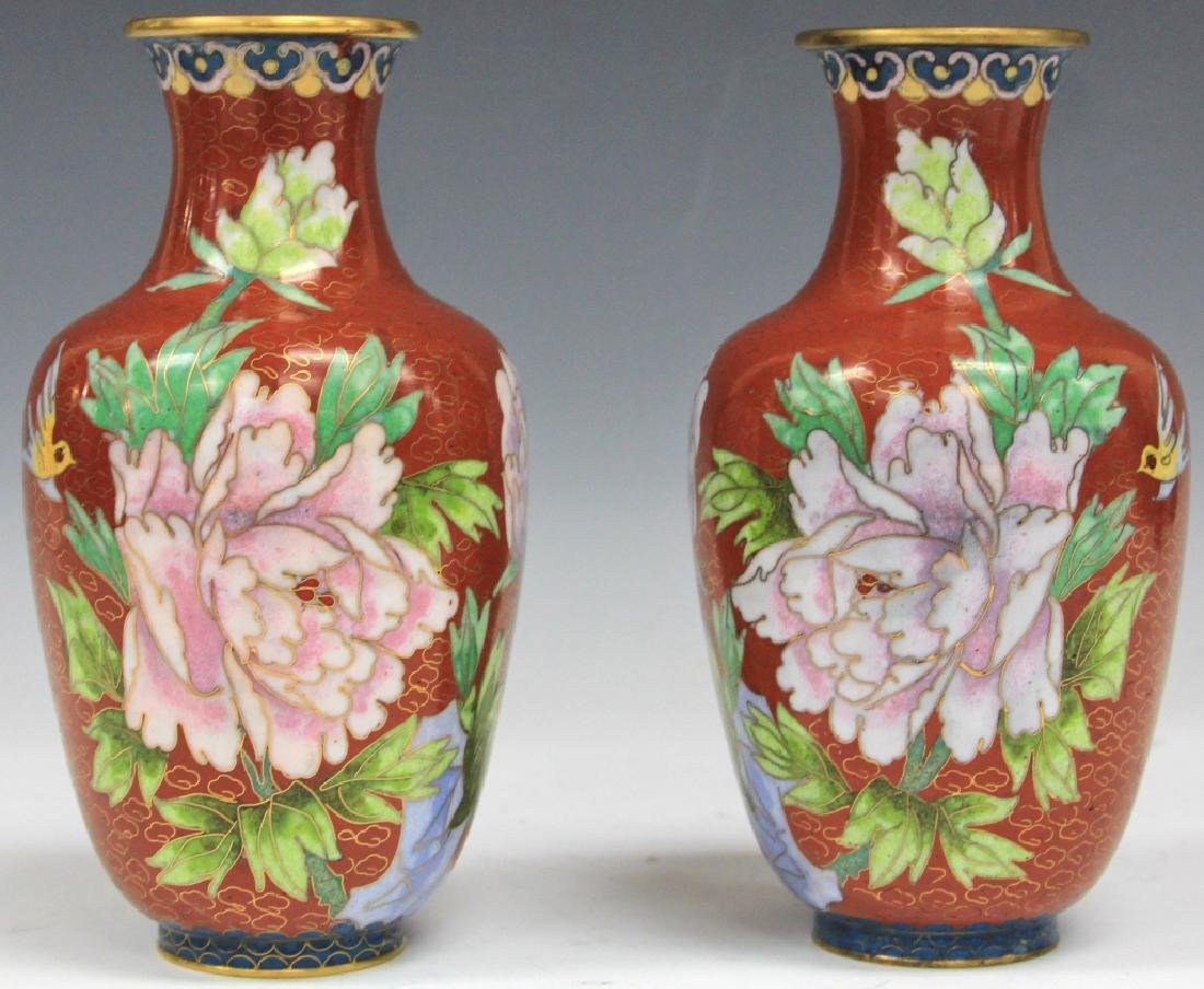 "PAIR OF CHINESE CLOISONNE VASES, 7 3/4"" H"