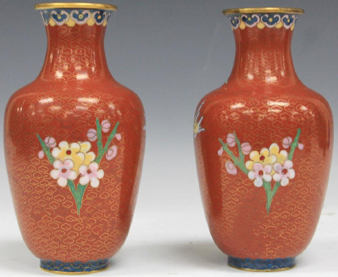 "PAIR OF CHINESE CLOISONNE VASES, 7 3/4"" H - 2"