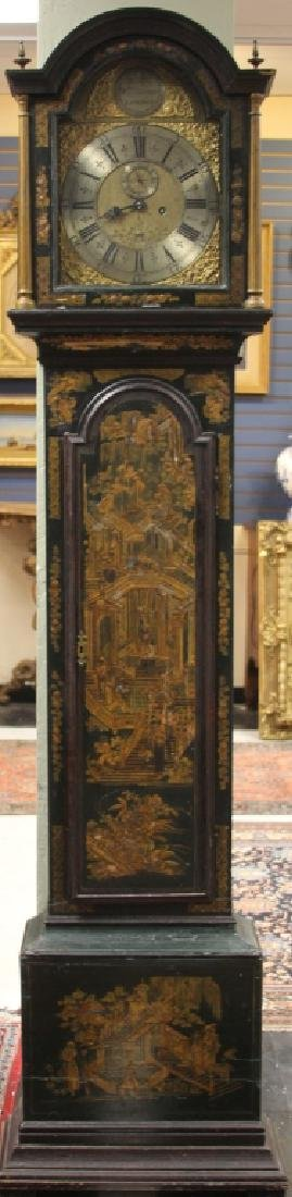 18TH C ENGLISH CHINOISERIE PAINTED TALL CASE CLOCK