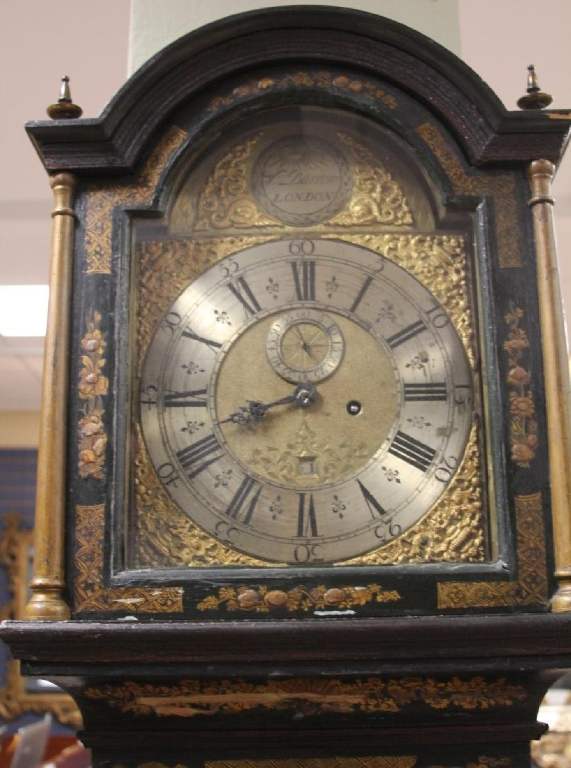 18TH C ENGLISH CHINOISERIE PAINTED TALL CASE CLOCK - 4