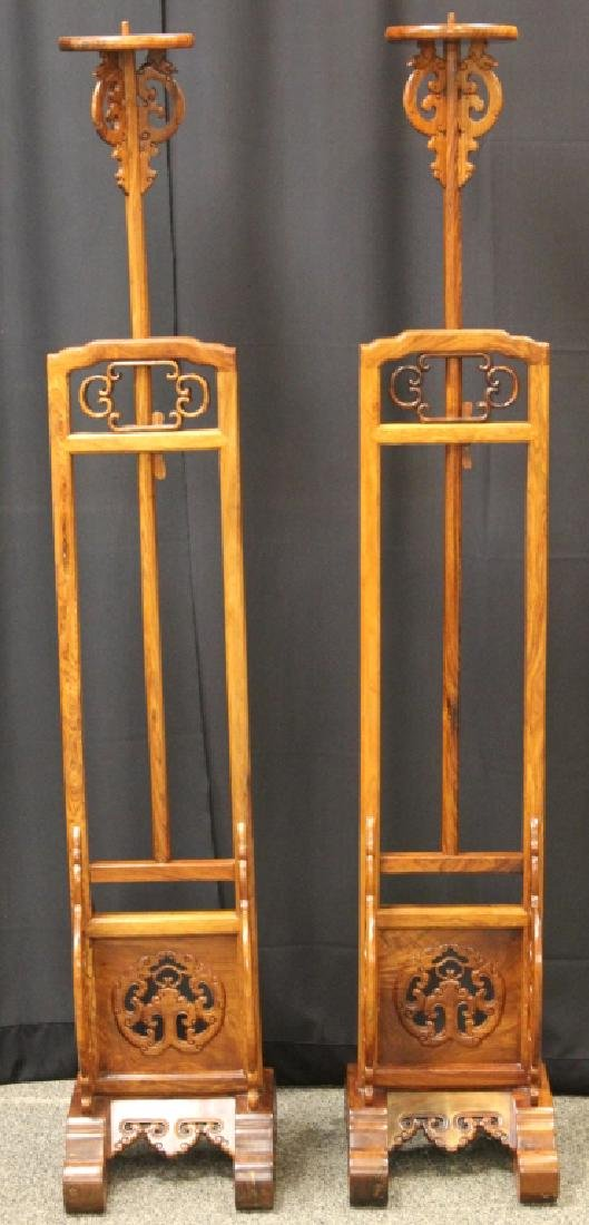 PAIR OF QING DYNASTY HUANGHUALI LAMP STANDS - 2