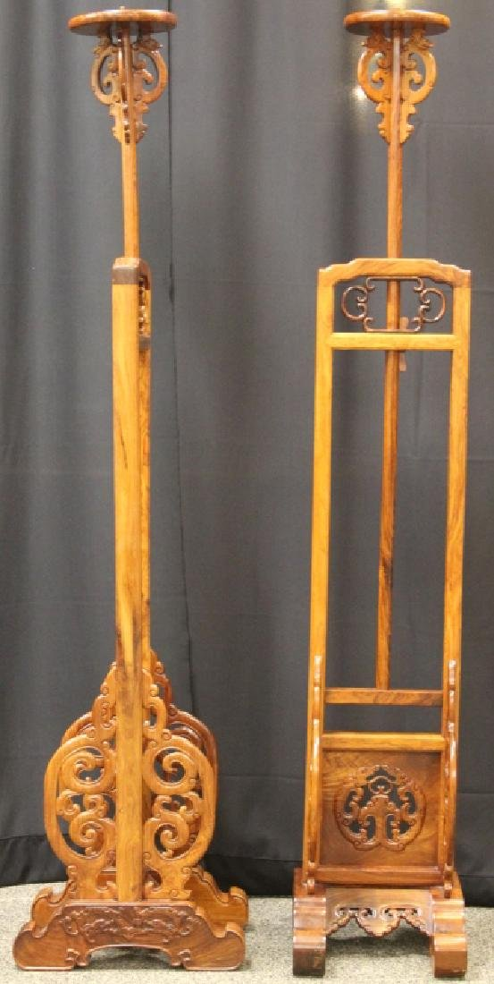 PAIR OF QING DYNASTY HUANGHUALI LAMP STANDS - 3