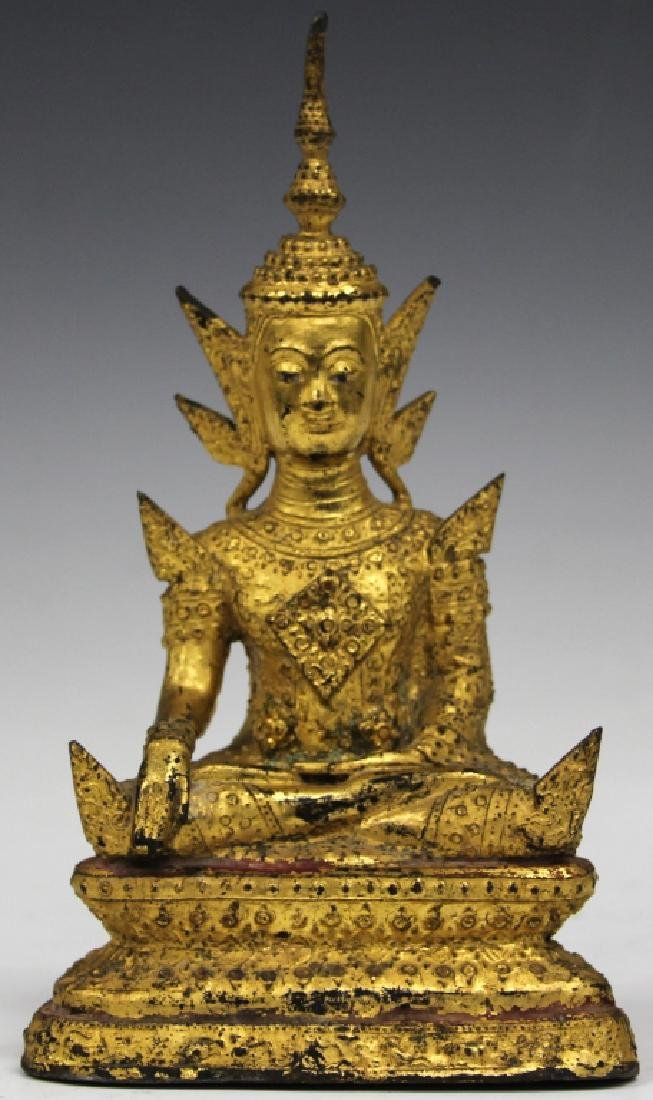 "GILT BRONZE SEATED SIAM FIGURE, 8"" H"