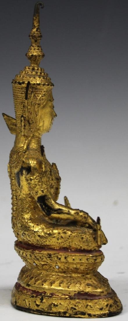 "GILT BRONZE SEATED SIAM FIGURE, 8"" H - 3"