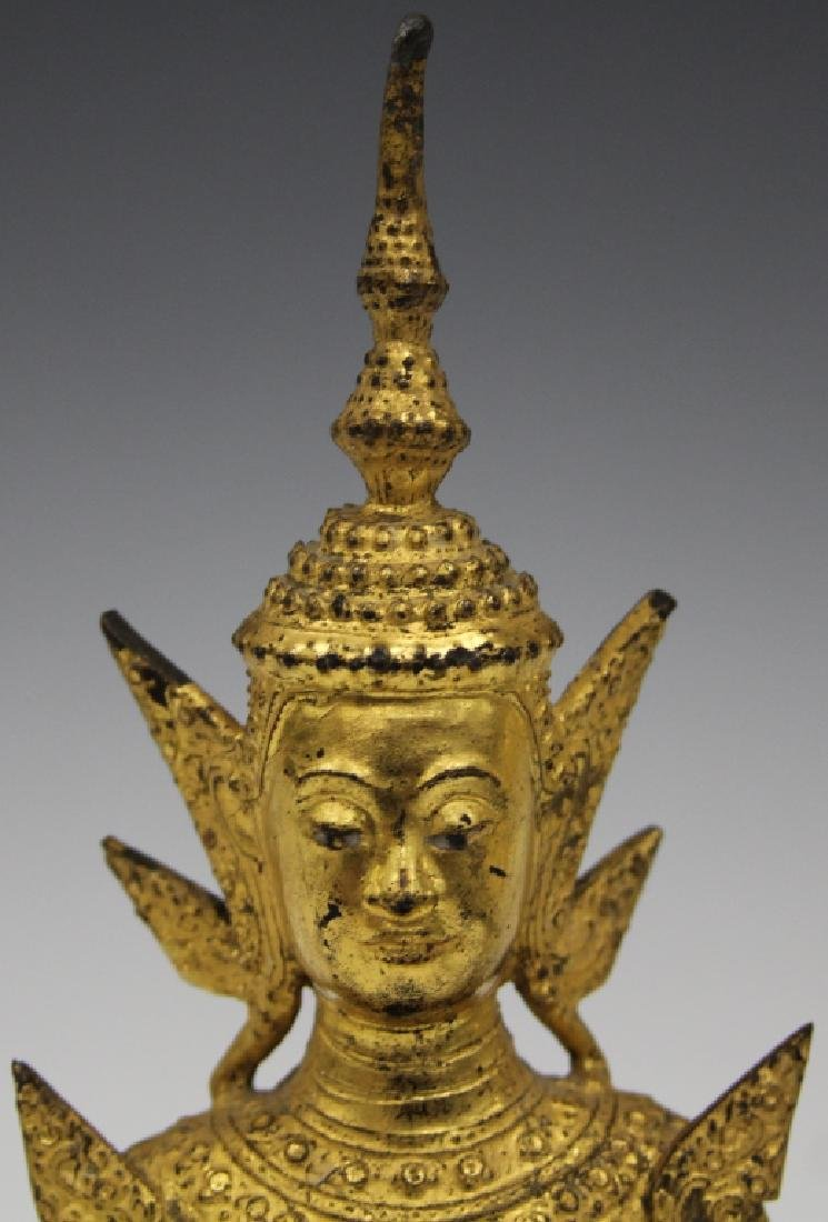 "GILT BRONZE SEATED SIAM FIGURE, 8"" H - 4"
