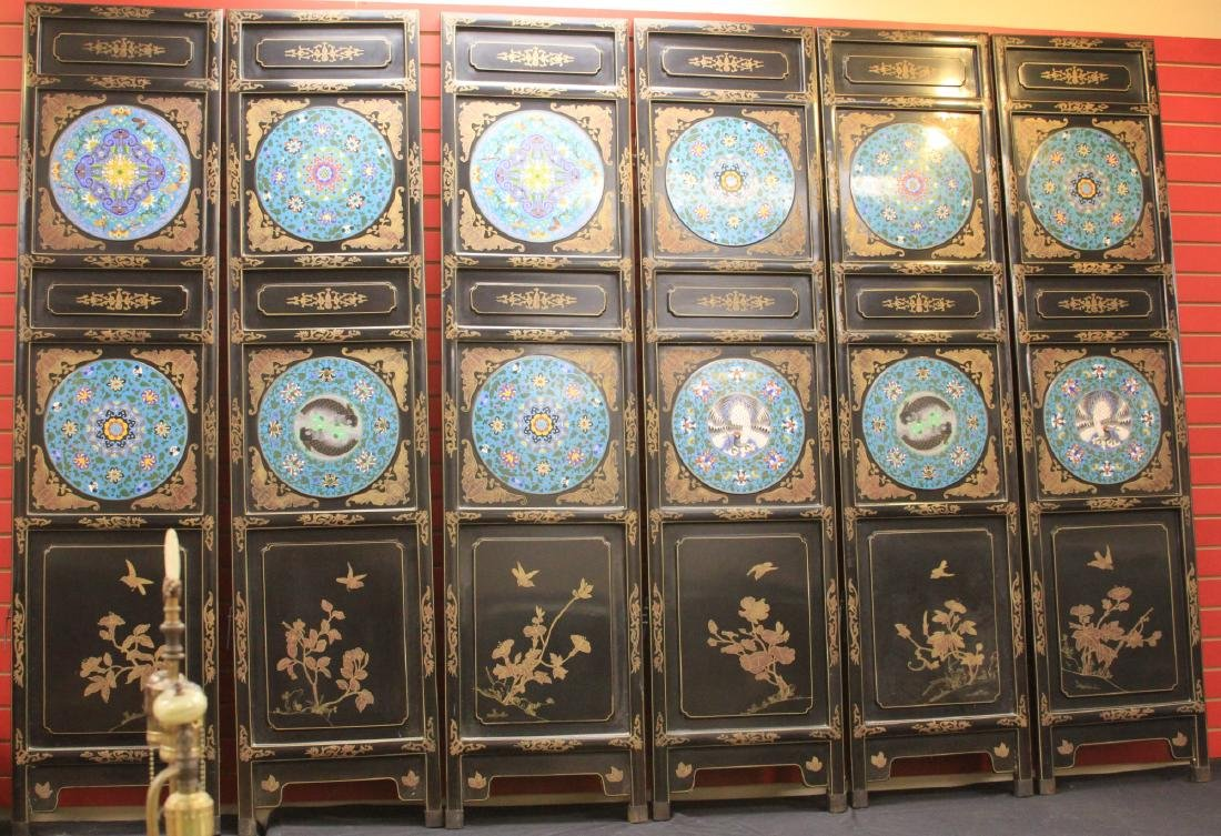 CHINESE SIX PANEL SCREEN W/ CLOISONNE MEDALLIONS - 2