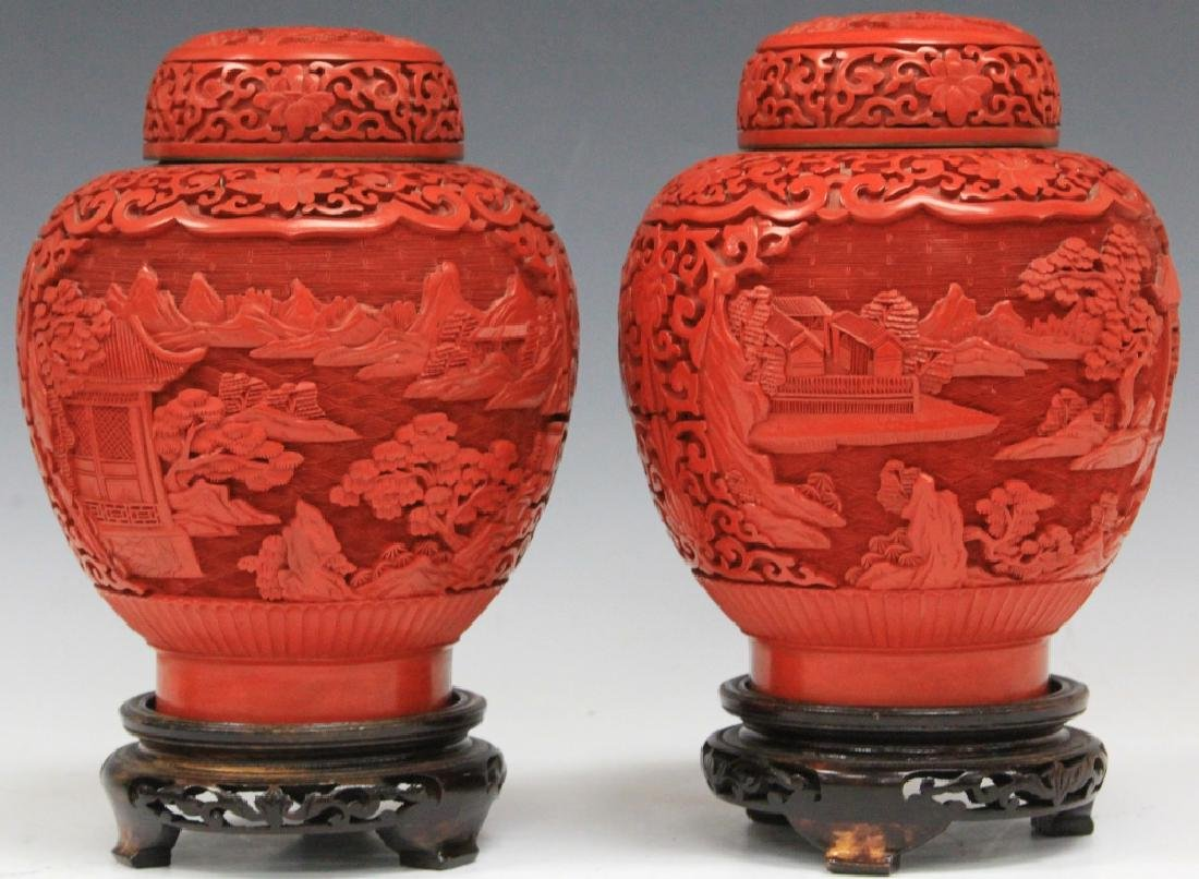 PAIR OF CHINESE CINNABAR CARVED JARS