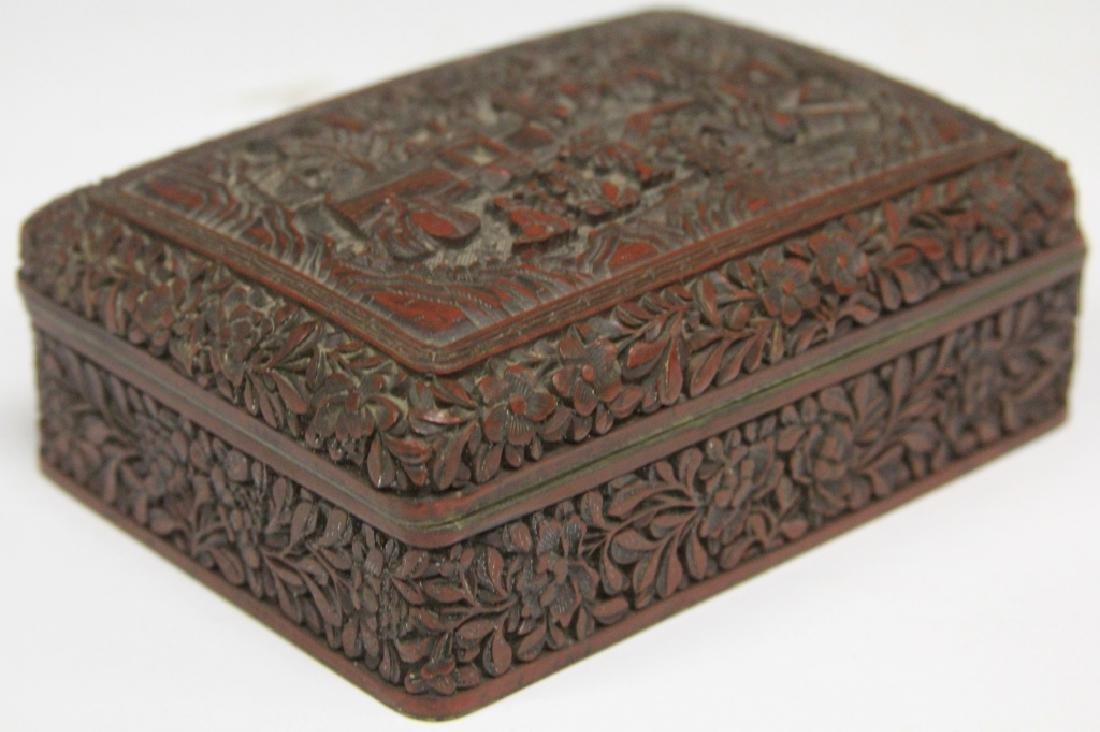 "CHINESE CINNABAR CARVED BOX, 5 1/4"" L"